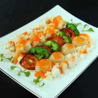seared-sea-scallops-with-prawn-and-crab-roe